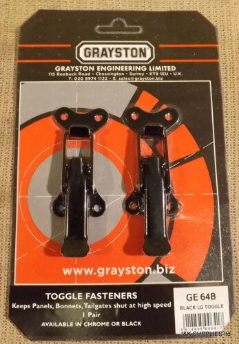 Grayston alternar Sujetador//Clip para capotas Arranque Tapa paneles del cuerpo-negro-GE64B