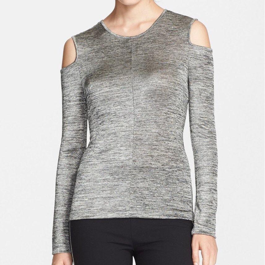 Rag & bone Michelle Cold Shoulder Cutout Top in Metallic grau Größe XXS