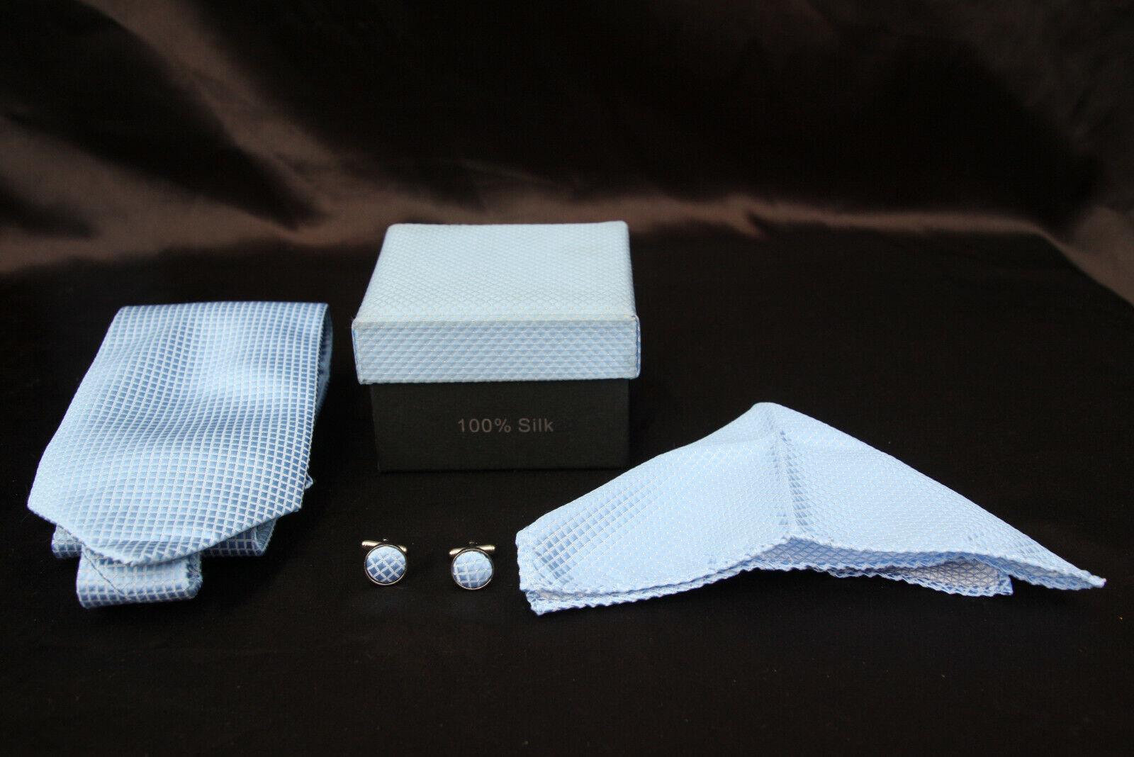 Thailand Light Blue Silk Tie / Cufflinks / Handkerchief Box Set