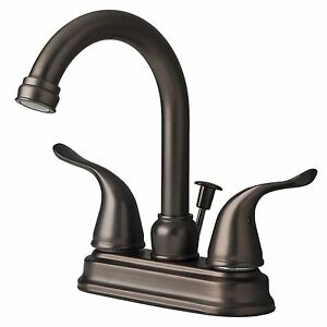 Contemporary bathroom vanity sink 4 centerset lavatory faucet brushed bronze ebay for Brushed copper bathroom faucets