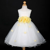 New Ivory/Belle Yellow Princess Wedding Flower Girl Dress 6M 12M 18M 2 4 6 8 10