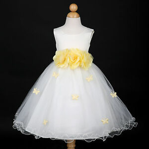 5ee8552e899 Details about New Ivory/Belle Yellow Princess Wedding Flower Girl Dress 6M  12M 18M 2 4 6 8 10