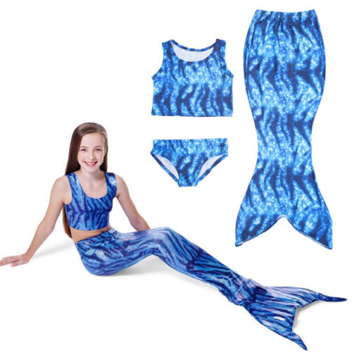 Summer Kids Girls Swimmable Mermaid Tail Swimsuit Swimwear Bikini Set Beachwear