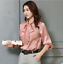Womens-Satin-Silk-Button-Down-Blouse-Top-Bow-Tie-Neck-Shirt-Long-Sleeve-Zhou8 thumbnail 14