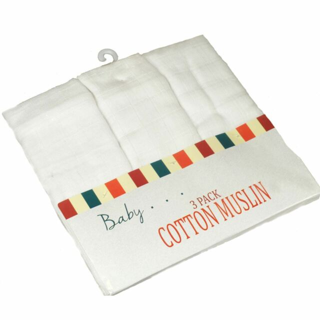 MUSLIN SQUARE 70X80 WHITE CLOTH BABY REUSABLE NAPPY WIPES BURP BIBS 100/% Cotton