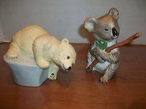 LOT OF (2) EVA DALBERG FIGURES - KOALA & POLAR BEARS - 1983 - CLEAN!