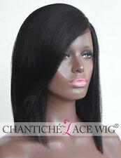 Short Bob Silk Top Human Hair Lace Front Wigs Black Women Brazilian Remy Yaki UK