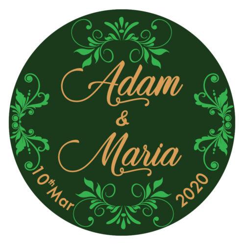 Personnalisé Mariage Mehndi Célébration Autocollants Étiquettes Brillant Matt en Q24 /& 35