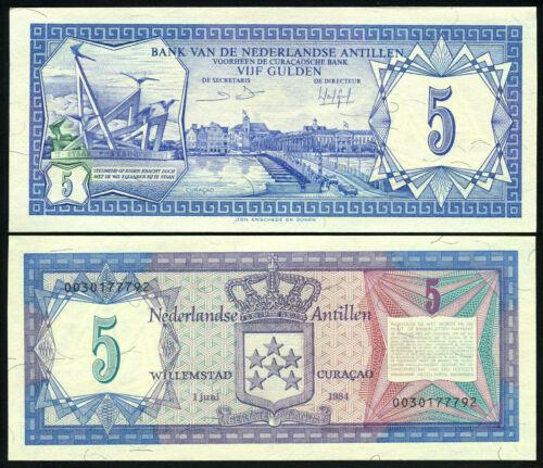 UNC P 15b P15b 5 Gulden 1984 Banknote Note NETHERLANDS ANTILLES