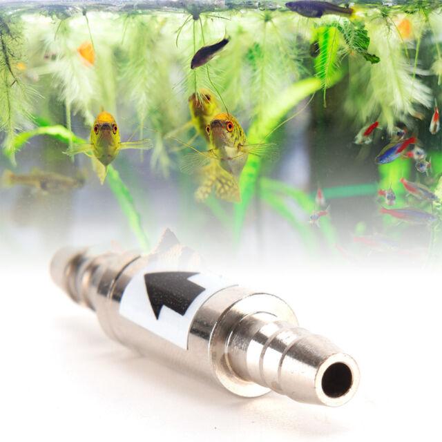 Edelstahl Rückschlagventil für Aquarium Co2 4 / 6mm Schlauch Regendiffusor  ^