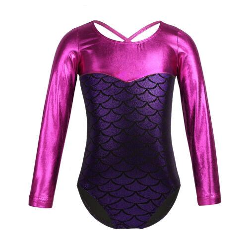 Kids Girls Long Sleeve Gymnastics Dance Dress Ballet Leotard Workout Dancewear