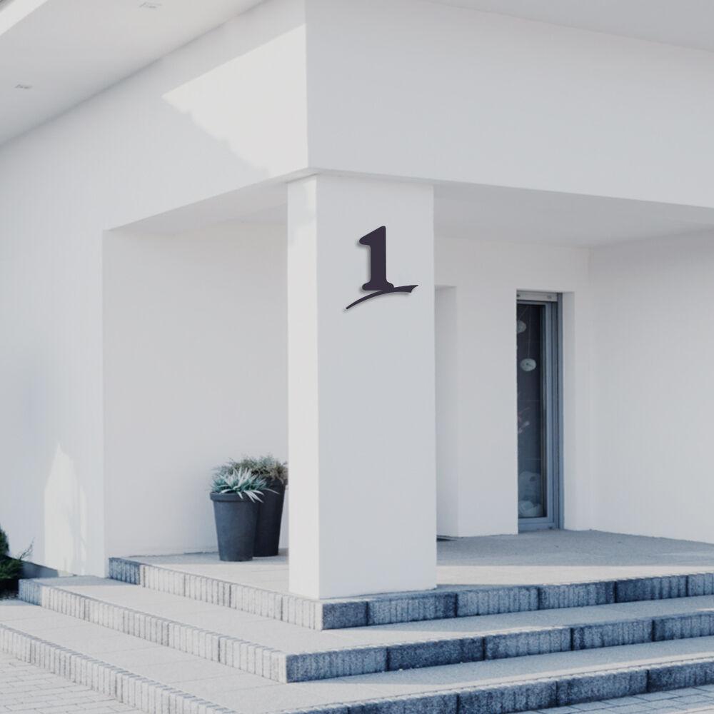 Hausnummer 1 aus Acrylglas,Farbe Anthrazitgrau,6mm stark,3D-Wirkung,von ALEZZIO®