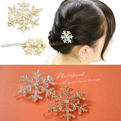 Crystal Womens Snowflake Rhinestone Hair Pin Clips Barrette Comb hairpin Bridal