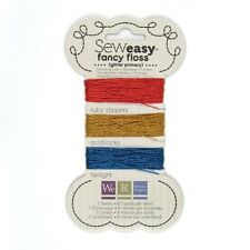 Sew Easy FANCY FLOSS Glitter PRIMARY Red/Blue/Gold 26-yds We R Memory Keepers
