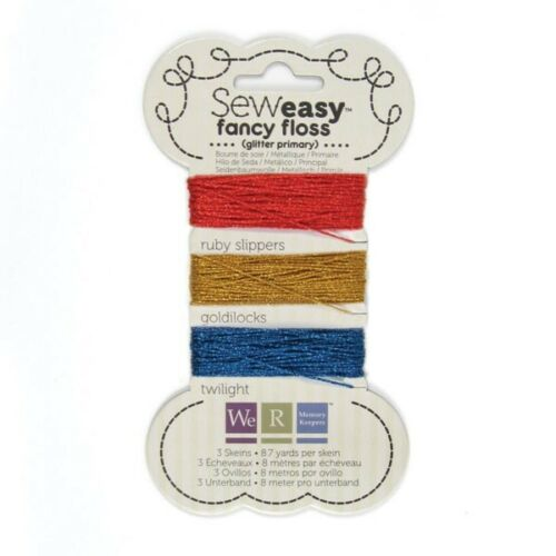 Sew Easy FANCY FLOSS Glitter PRIMARY Red//Blue//Gold 26-yds We R Memory Keepers