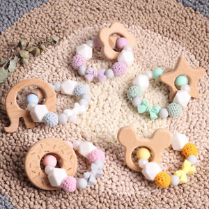 Baby-Teething-Wooden-Crochet-Silicone-Beads-Rattle-Bracelet-Pacifier-Chain-Clips