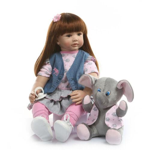 Newborn Reborn Baby Dolls Girls Long Hair Realistic Reborn Toddler Dolls 24 inch