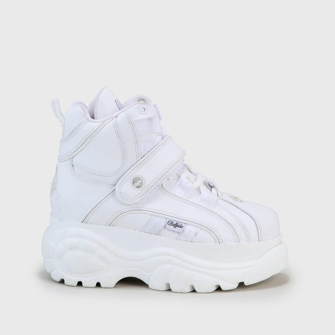 Buffalo London Classic Stiefel schuhe Plateau Schuhe 90er Weiß Echtleder
