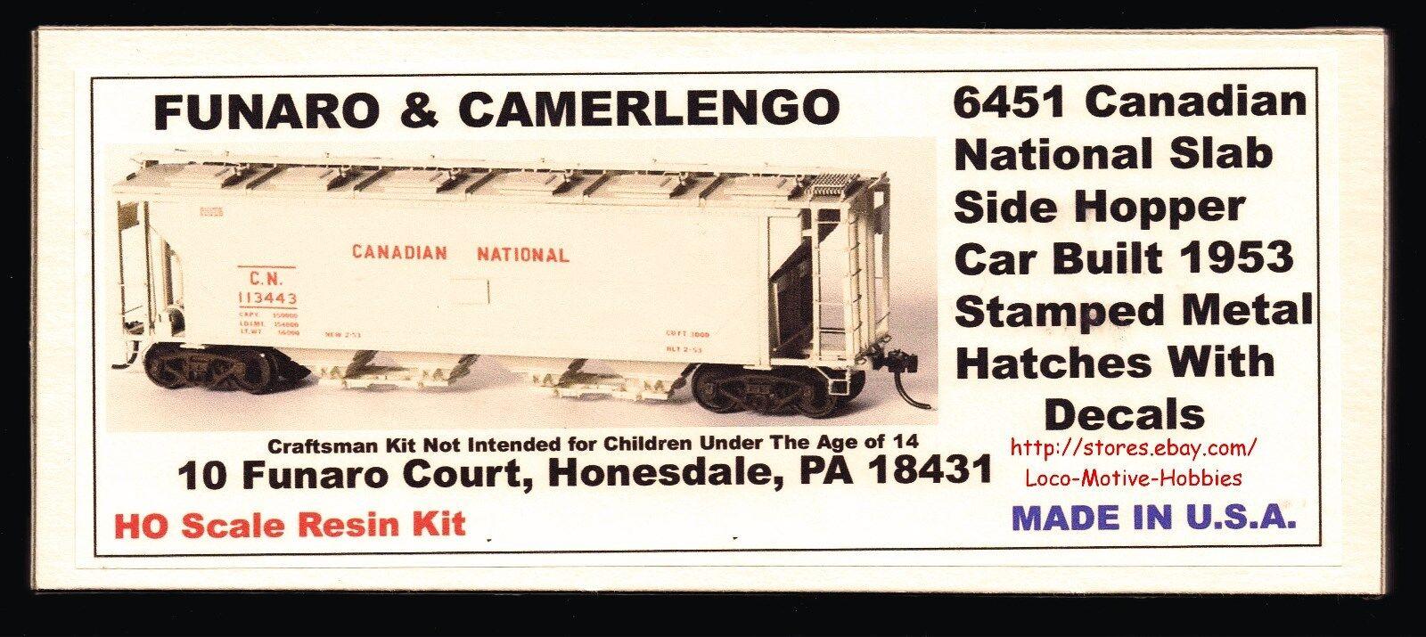 Funaro F&C 6451  CANADIAN NATIONAL CN  Slab-Side Covered Hopper  Stamped Hatches