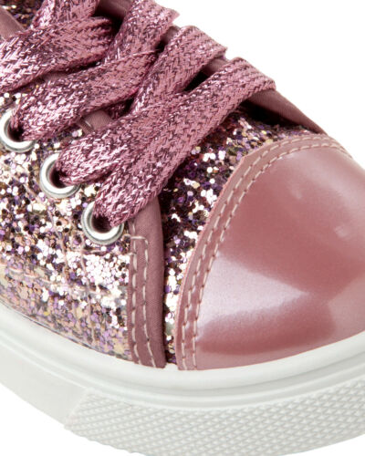 GIRLS PINK GLITTER LACE UP SLIP ON PUMPS TRAINERS SHOES KIDS UK SIZE 7-1