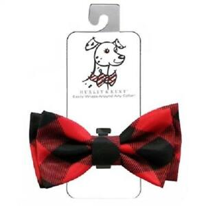 NEW-Red-Buffalo-Check-Plaid-Holiday-Dog-Bow-Tie-Collar-Attachment-Huxley-amp-Kent