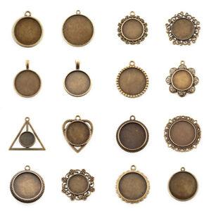 10pcs-Vintage-Alloy-Pendant-Cabochon-Settings-Antique-Bronze-Glass-Bead-DIY-Tray