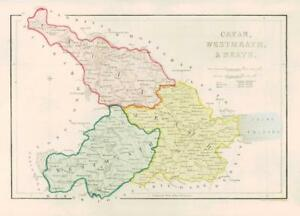 1840 Ireland Original Antique Map Of Cavan West Meath Meath 005