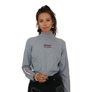 Women s Stussy Donna Turtleneck Sweater Jumper Cotton Top Grey Marle ... 5e9502fd9
