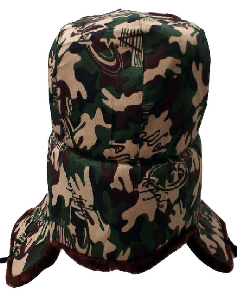 Russisch Ushanka Feder Stil Tarnfarbe W/Hammer & Sichel Emblem (Größe L)