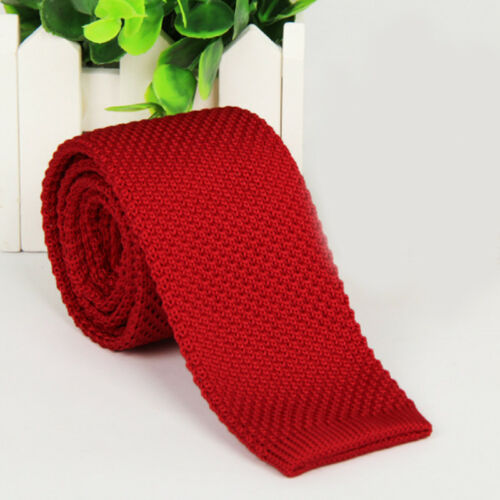 Men/'s Fashion Solid Woven Knitted Knit Tie Necktie Tie Narrow Slim Skinny New