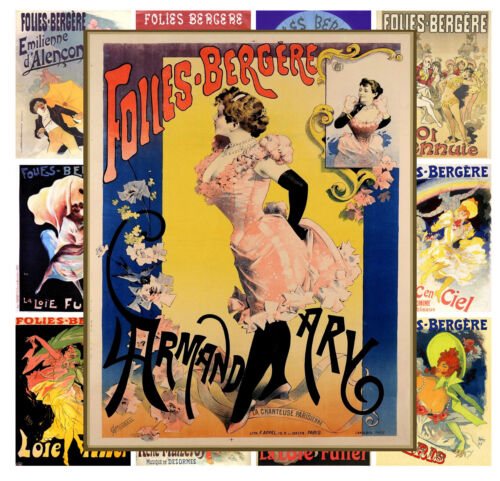 """13 pages 8/""""x11/""""//A4 Mini Posters Folies Bergere Vintage Girl Show Poster MP531"""