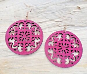 Details About Snowflakes Cutout Pattern Wooden Disc Large Redbrown Hook Earrings 5cm New