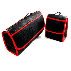 2-X-Wagenpflege-Schutz-Ordentlicher-Organizierer-Rot-Rand-Kofferraum-Taschen-mit