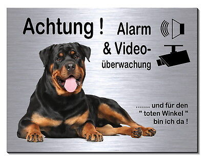 Gehemmt Selbstbewusst Unsicher Befangen Verlegen Rottweiler-schild-alu-edelstahl-optik-20 X15 Oder 30 X 20 Cm-alarm-video-hund