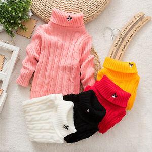 046b362e7efc Baby Boy Girls Sweater Children Kids Pullover Knitting Turtleneck ...