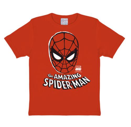 LOGOSHIRT-MARVEL COMICS-supereroe-Spider-Man Maschera-Bambini T-shirt Rosso