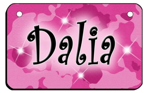 """Pink Camouflage Bicycle License Plate Personalize Text Colors 2.75/"""" x 4.5/"""" Girls"""