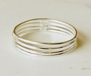 Genuine-925-Sterling-Silver-4-Four-Thin-Stackable-Stack-Band-Connected-5-6-7-8