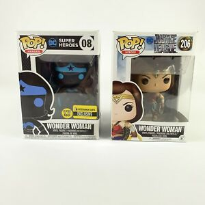 Funko-POP-Lot-Of-2-DC-Super-Heroes-WONDER-WOMAN-08-And-Justice-League-206-WW