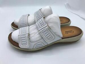 6b6c875de39 Clarks Double-Strap Leather Sandal Taline Pop (1606) White 8W Cust ...