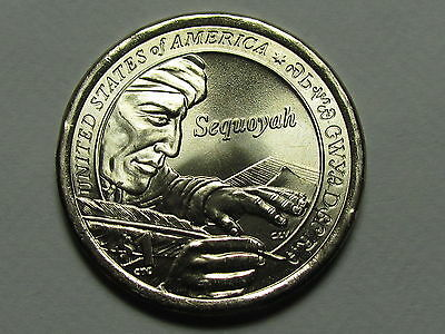 2 coins set 2017 P D Native American contributions of Sequoyah Dollar $1