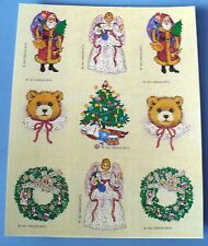 VINTAGE GIBSON VICTORIAN CHRISTMAS 9 STICKERS 1 SHEET SANTA TEDDY BEARS LADY