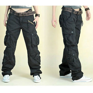 Para Mujer Cargo Pantalones Pantalones Sueltos Hip Hop Al Aire Libre Militar Bolsillo Retro Negro Ebay