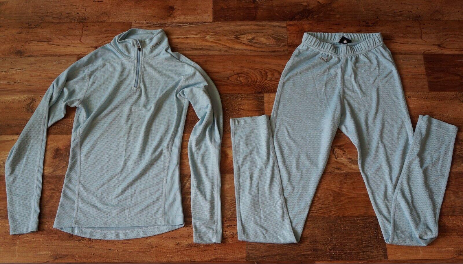 Ladies SWIX Ski Crosscountry Base Layer Trousers + Top Light bluee Size XS