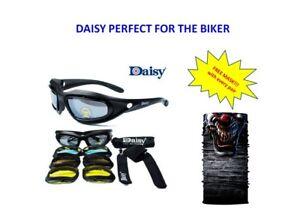 Daisy-Motorcycle-Googles-Glasses-MATT-BLACK-FRAME-Free-Mask-3D-Clown-DM22