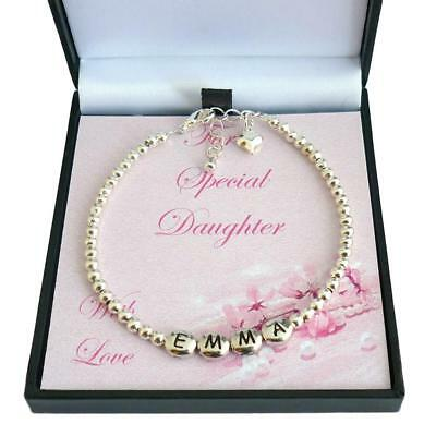 Personalised Girls Bracelet with Silver Beads, Any Girl's Name  Gift Boxed  | eBay