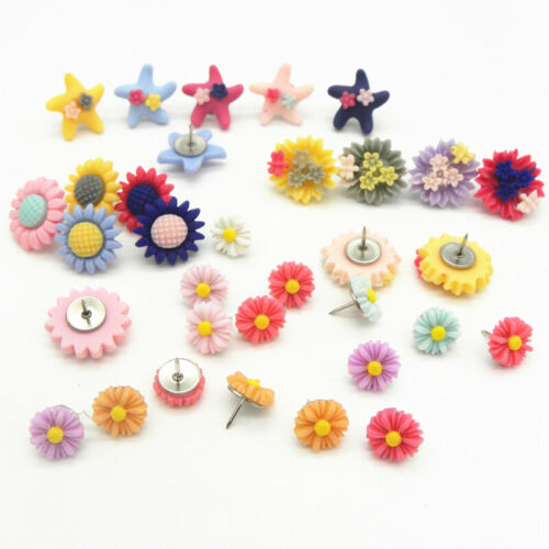 30 x Decorative Flower Push Pins Cork Board Thumb Tacks Office Assorted Colours