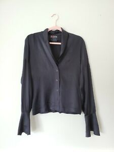 Vintage-ESCADA-womens-size-38-8-US-black-100-silk-long-sleeved-blouse-top