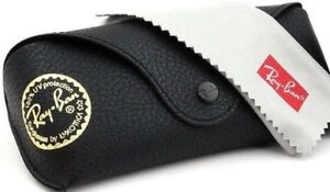 Ray-Ban-Sunglasses-Eye-glasses-case-Black-leather-with-cleaning-cloth