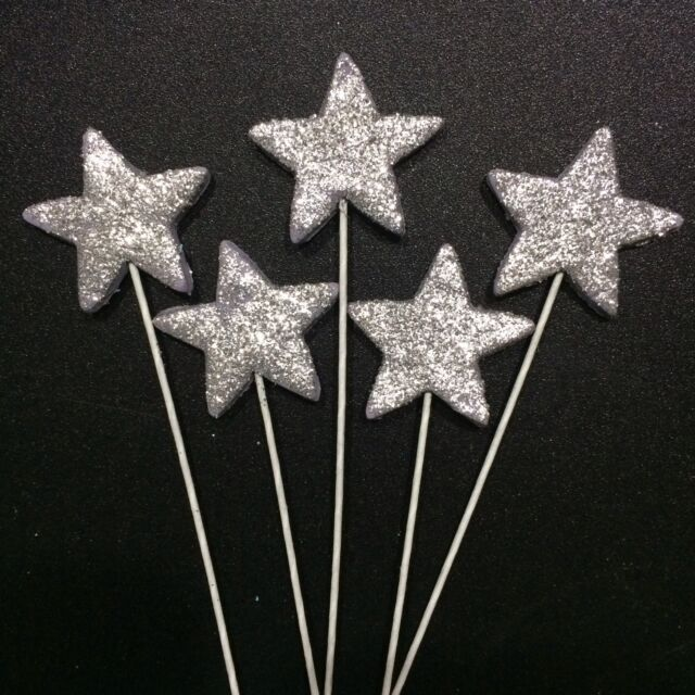 Silver Stars On Wire Edible Sugar Cake Toppers X 6